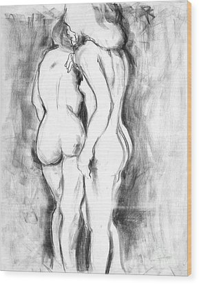 Double Nudes Wood Print by Elena Irving