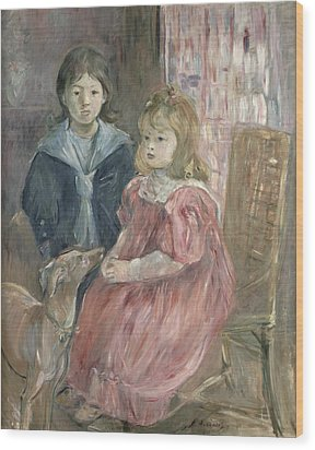 Double Portrait Of Charley And Jeannie Thomas Wood Print by Berthe Morisot