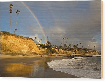 Double Raibow Over Laguna Beach Wood Print