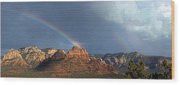 Double Rainbow Over Sedona Wood Print by Dan Turner
