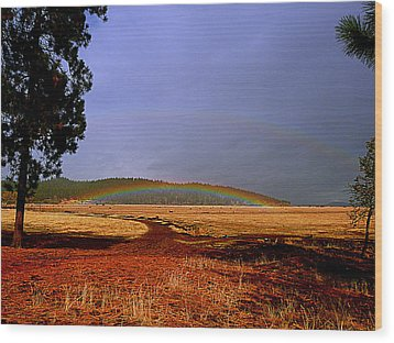 Double Rainbow Ridge Wood Print by Cindy Wright