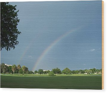 Wood Print featuring the photograph Double Rainbow by Sheila Silverstein