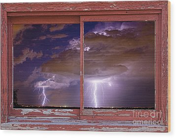Double Trouble Lightning Picture Red Rustic Window Frame Photo A Wood Print by James BO  Insogna