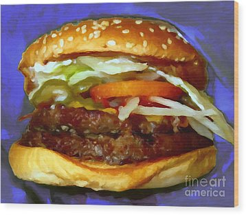 Double Whopper With Cheese And The Works - V2 - Painterly - Purple Wood Print by Wingsdomain Art and Photography