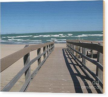 Down To The Beach Wood Print by Cedric Hampton