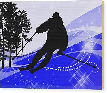 Downhill On The Ski Slope  Wood Print by Elaine Plesser