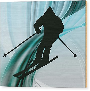 Downhill Skiing On Icy Ribbons Wood Print by Elaine Plesser