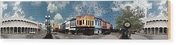 Downtown Bryan Texas Panorama 5 To 1 Wood Print by Nikki Marie Smith