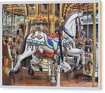 Downtown Carousel Wood Print