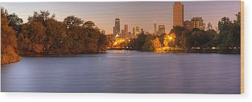 Downtown Chicago From Lincoln Park Wood Print by Twenty Two North Photography