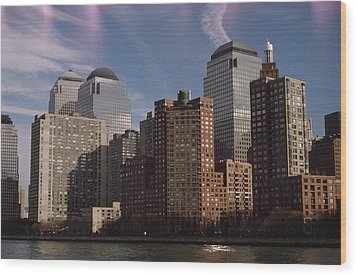 Downtown Financial District Wood Print by Justin Guariglia
