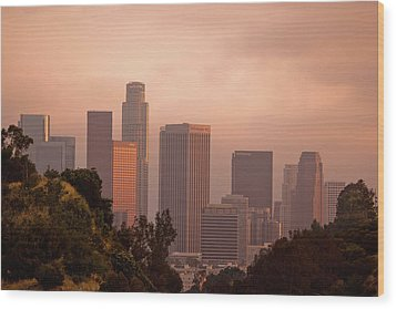 Downtown Los Angeles Wood Print by Andrew Kennelly
