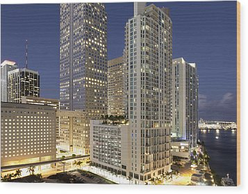 Downtown Miami At Dusk Wood Print by Marcaux