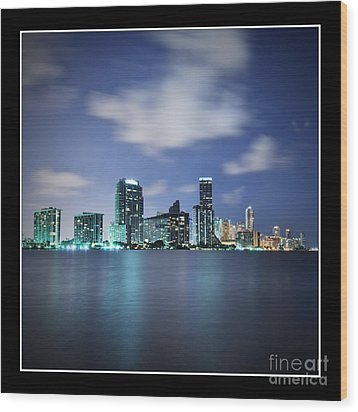 Downtown Miami At Night Wood Print by Carsten Reisinger
