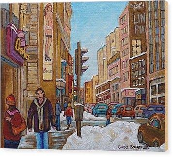 Downtown Montreal Paintings Wood Print by Carole Spandau