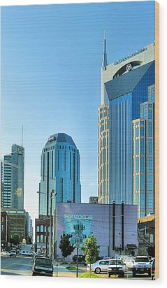 Downtown Nashville II Wood Print by Steven Ainsworth