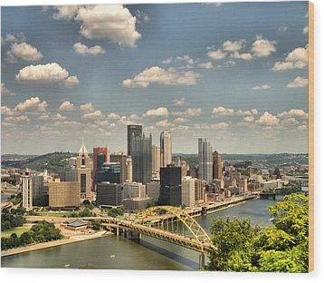Downtown Pittsburgh Hdr Wood Print by Arthur Herold Jr