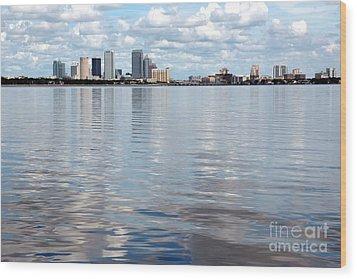 Downtown Tampa Over Hillsborough Bay Wood Print by Carol Groenen