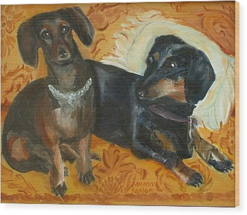 Doxie Duo Wood Print by Susan Hanlon