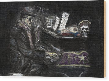 Wood Print featuring the drawing Dr. John In Charcoal And Pastel by Denny Morreale