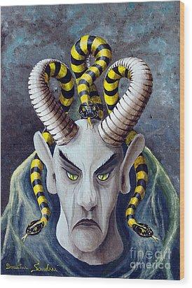 Wood Print featuring the painting Dracu Mort From Arboregal by Dumitru Sandru