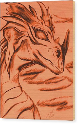 Dragon In Color Wood Print by Maria Urso