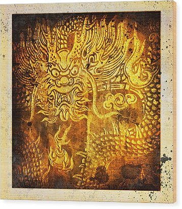 Dragon Painting On Old Paper Wood Print by Setsiri Silapasuwanchai