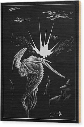 Dragon Rise Wood Print by Morgan Banks