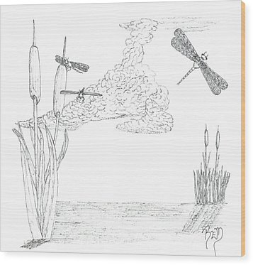 Dragonflies And Cattails - Sketch Wood Print by Robert Meszaros