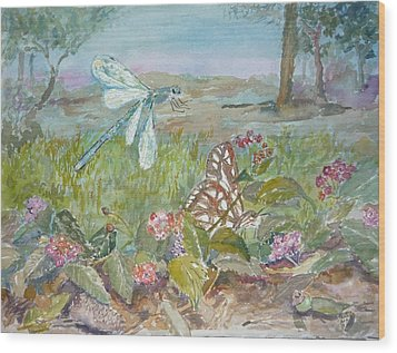 Dragonfly Wood Print by Dorothy Herron