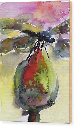Dragonfly On Flower Bud Watercolor Wood Print by Ginette Callaway