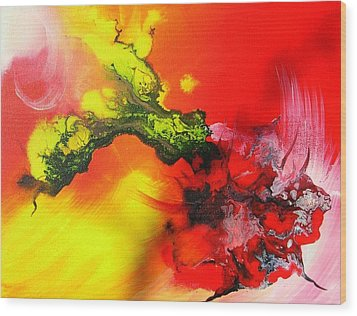 Wood Print featuring the painting Dragon's Fire by Mary Kay Holladay