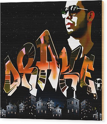 Drake 'watch Over The City' By Gbs Wood Print by Anibal Diaz