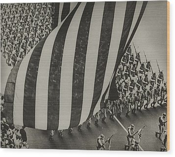 Dramatic Photo Of Us Flag And Uniformed Wood Print by Everett
