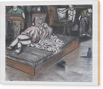 Drawing Of A Sleeping Model Wood Print by Casey P