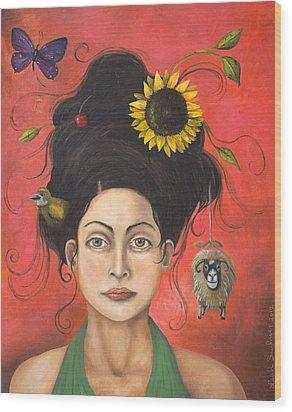 Dream Hair 2 Wood Print by Leah Saulnier The Painting Maniac