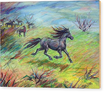 Wood Print featuring the painting Dream Horse In Flight by Nancy Tilles