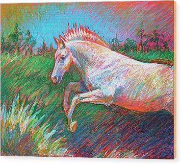 Wood Print featuring the painting Dream Horse by Nancy Tilles