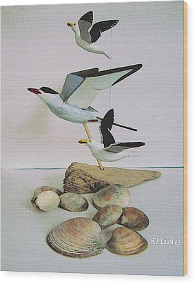 Dreams Evoked From Wooden Birds Wood Print by Roland LaVallee