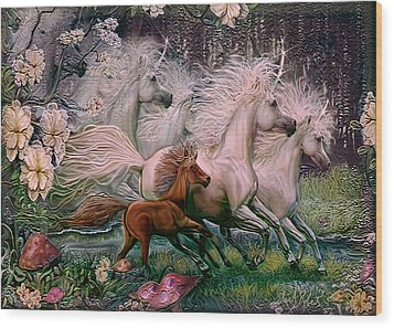 Wood Print featuring the painting Dreams Of Unicorns by Steve Roberts