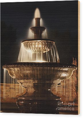 Dreamy Fountain Wood Print by Val Armstrong