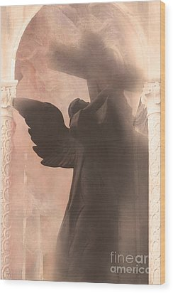 Dreamy Spiritual Ethereal Angel On Cross Wood Print by Kathy Fornal