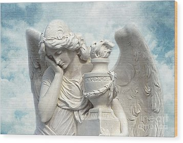 Dreamy Surreal Beautiful Angel Art Blue Sky Wood Print by Kathy Fornal
