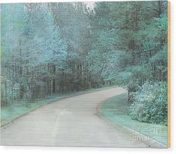 Dreamy Teal Aqua Blue Nature Trees Wood Print by Kathy Fornal