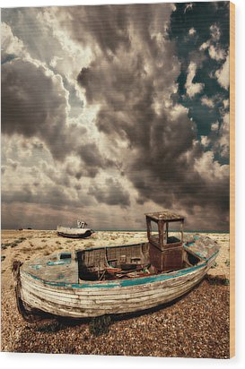Dreamy Wrecked Wooden Fishing Boats Wood Print by Meirion Matthias