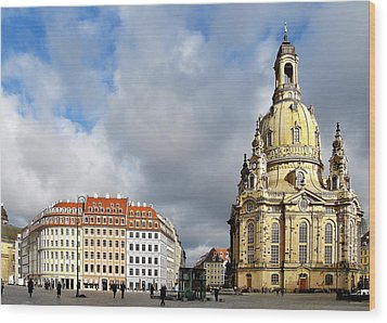 Dresden Church Of Our Lady And New Market Wood Print by Christine Till