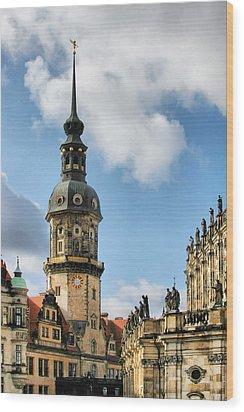 Dresden Hausmannsturm - Housemann Tower Wood Print by Christine Till