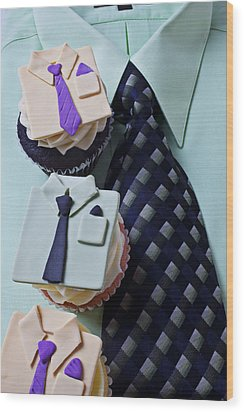 Dress Shirt Cupcakes Wood Print by Garry Gay