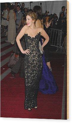 Drew Barrymore Wearing Oscar De La Wood Print by Everett