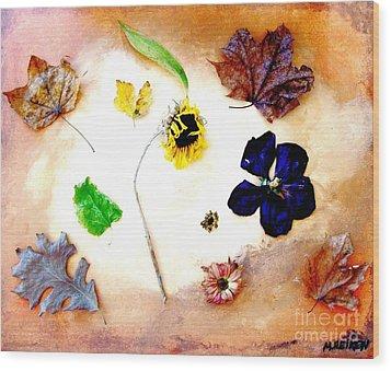 Dried Flowers And Leaves Wood Print by Marsha Heiken